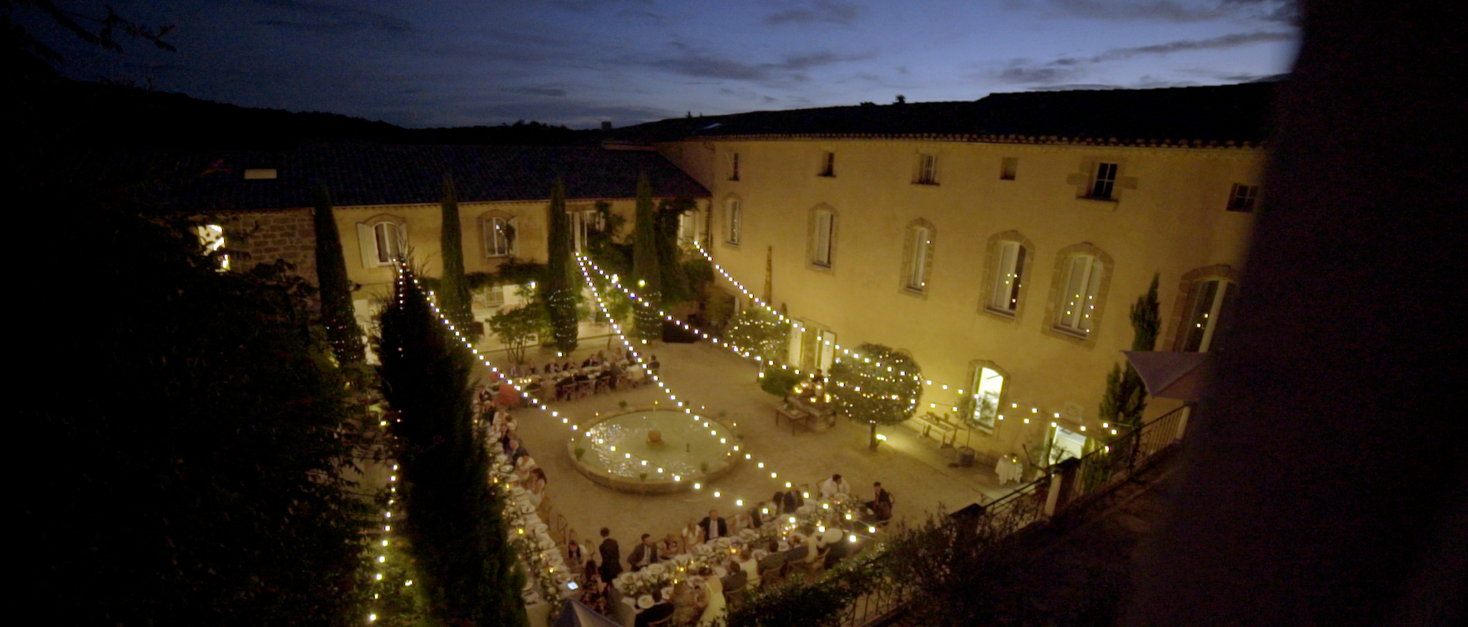 beautiful chateau de massillan wedding south of france wedding inspiration festoon lighting