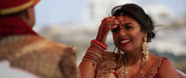 Indian Wedding Ceremony Santorini Bride