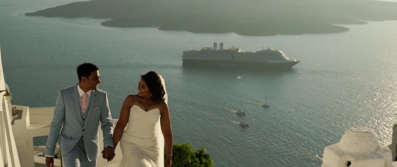 Indian Wedding Santorini Bride and Groom Couple Shoot