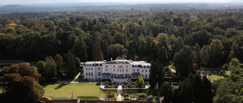 coworth park wedding venue drone shot