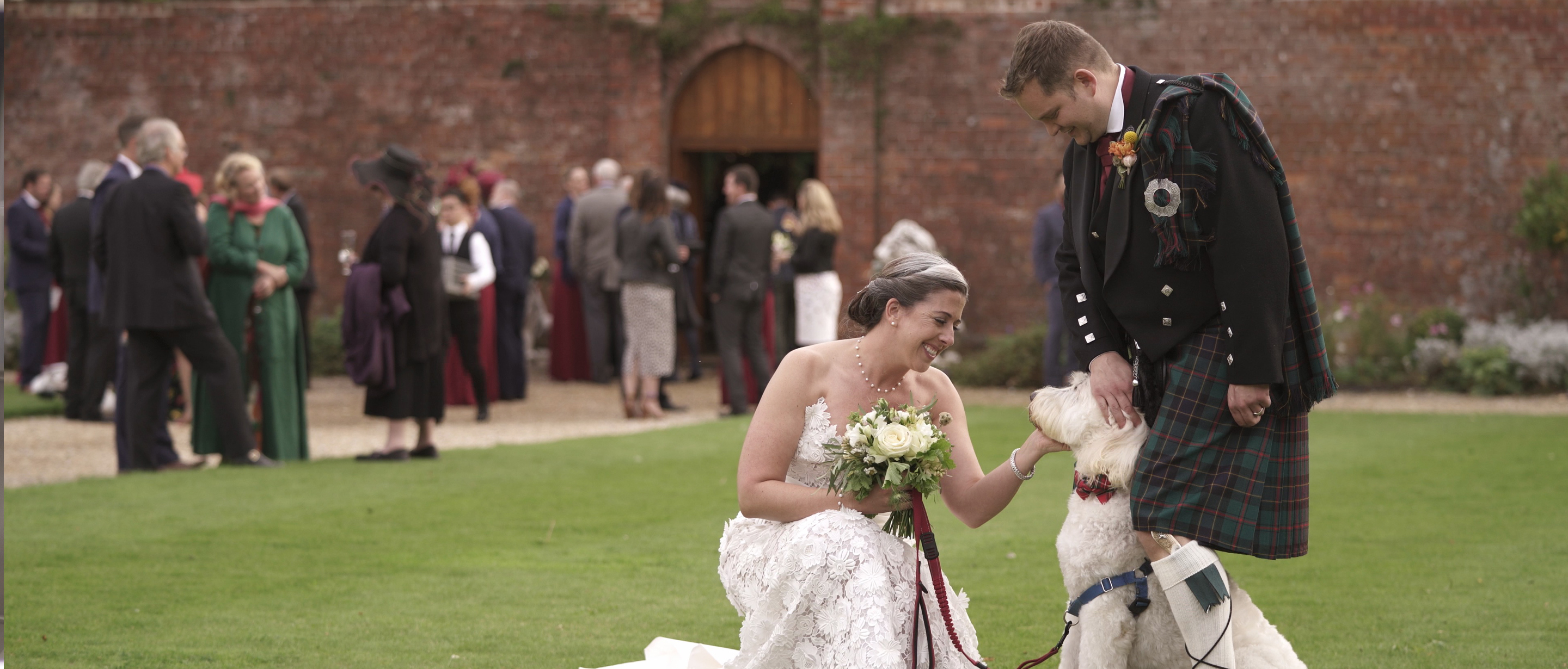 bride and groom dog orchardleigh estate wedding