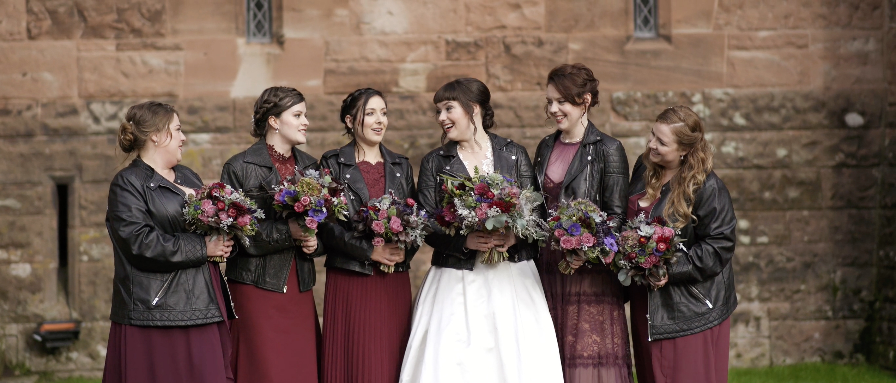 alternative wedding inspiration leather jacket bride peckforton castle video cheshire