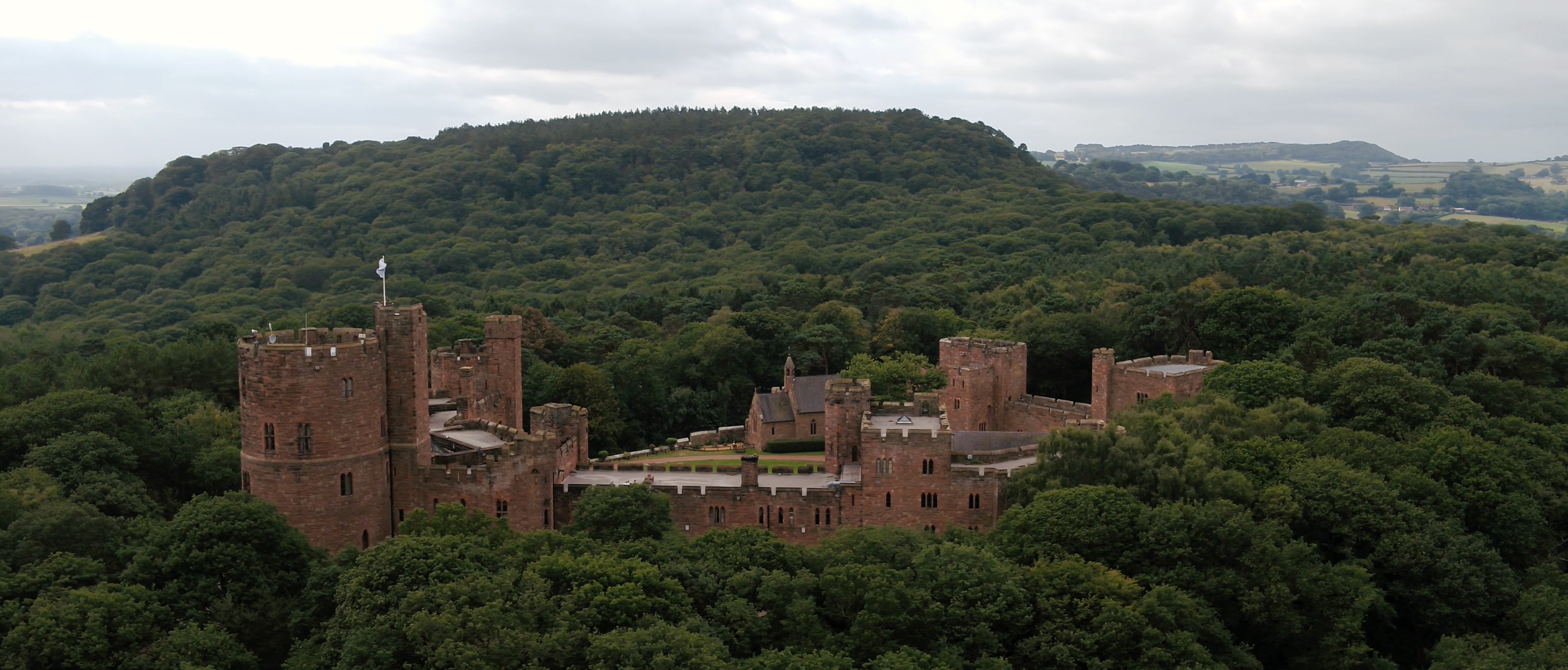 peckforton castle drone shot