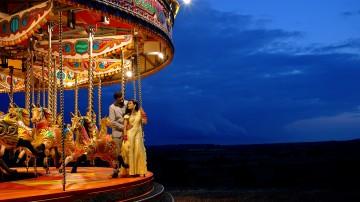 festival wedding with carousel